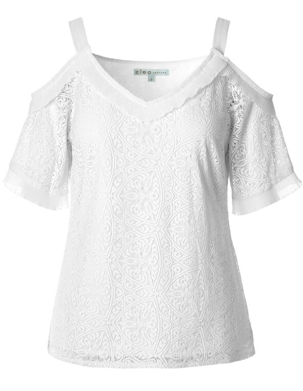 White Lace Ruffled Detail Top, White, hi-res