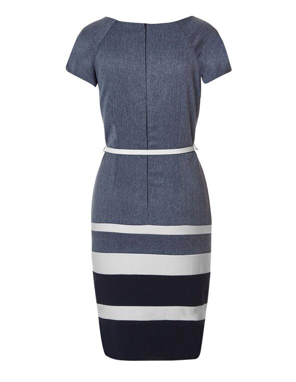 Navy Stripe Belted Dress, Navy/Chambry, hi-res