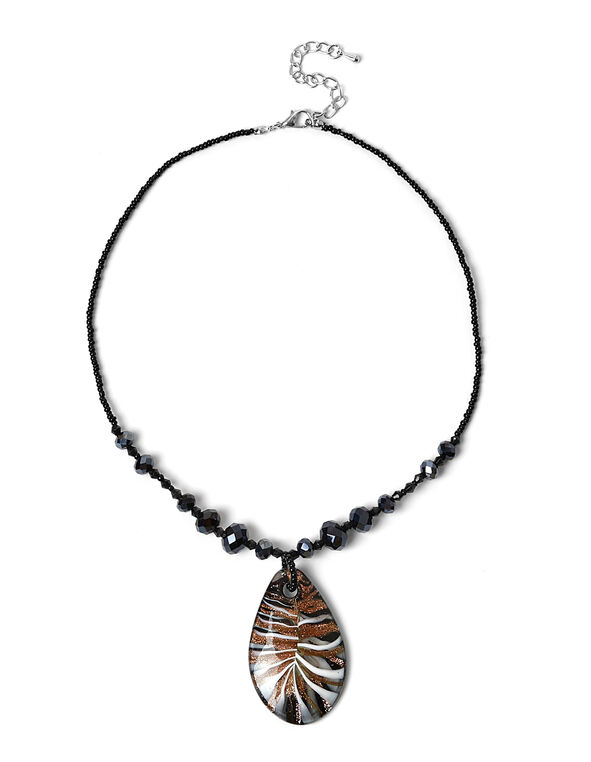Black Murano Glass Necklace, Black, hi-res