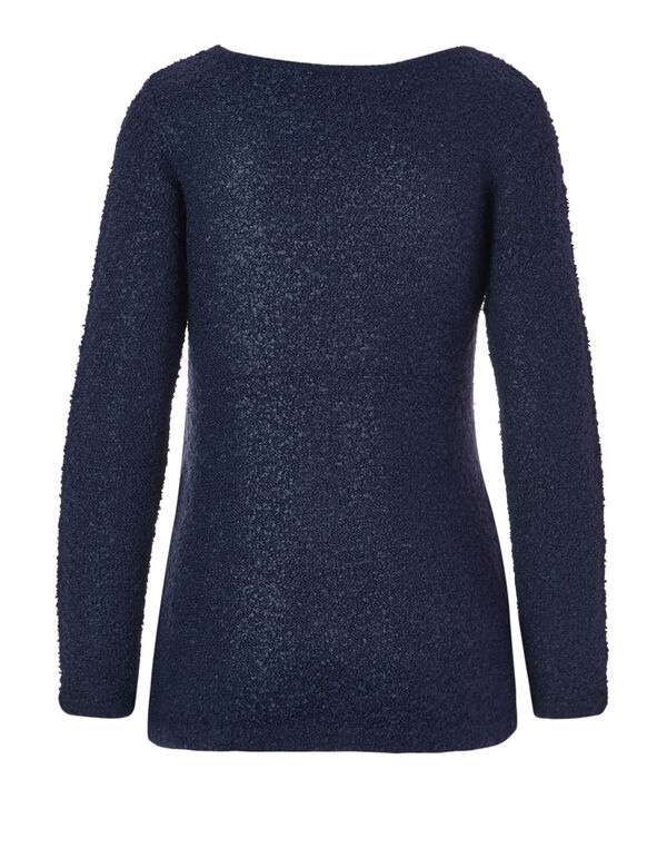Navy Cross Over Sweater, Navy, hi-res