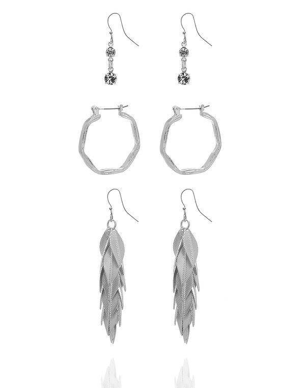 Silver Leaf Drop Earring Set, Silver, hi-res