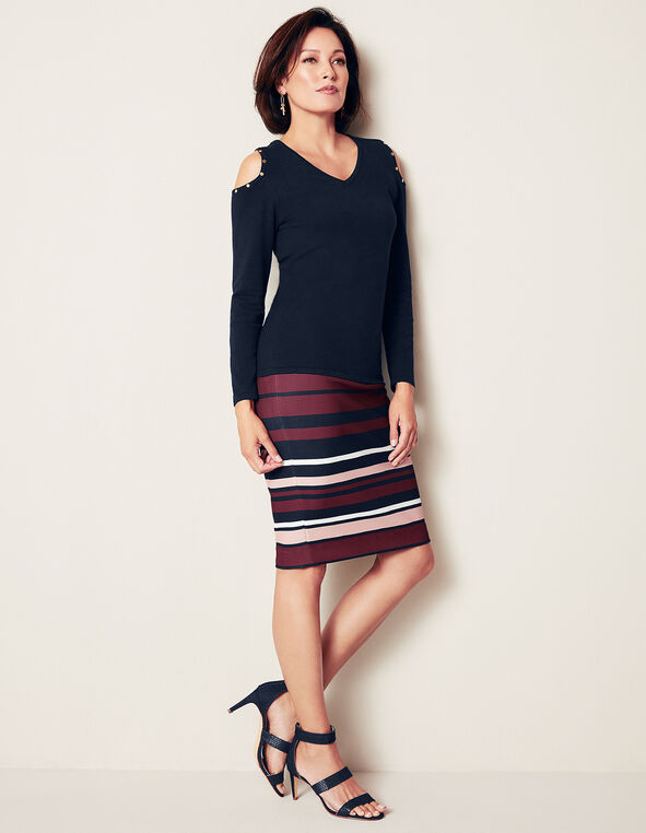 Claret Stripe Pencil Skirt, Navy/Ivory/Claret/Dusty Pink, hi-res