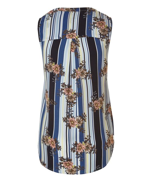 Floral Stripe Shell Blouse, Floral Stripe, hi-res