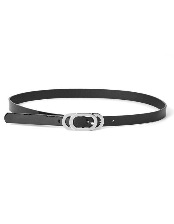 Black Patent Skinny Belt, Black, hi-res