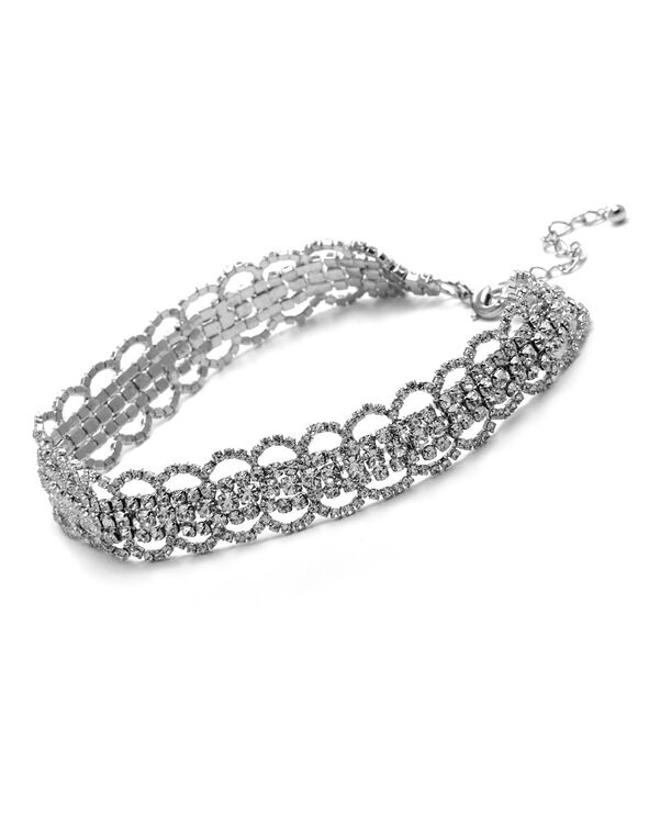 Silver Crystal Lace Choker, Silver, hi-res