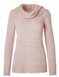 Soft Blush Crochet Hem Sweater