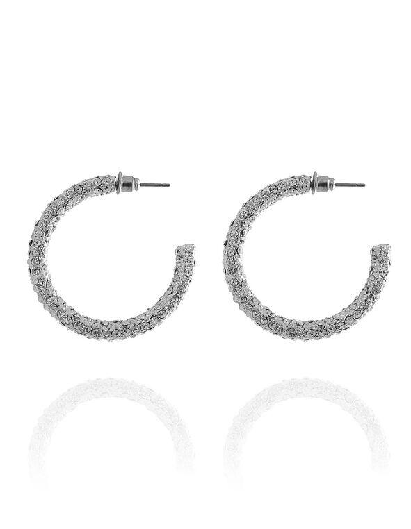 Silver Crystal Pave Hoop Earring, Silver, hi-res