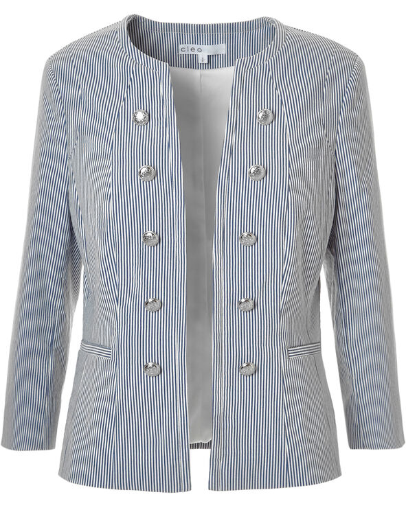 Seersucker Military Blazer, White/Blue, hi-res