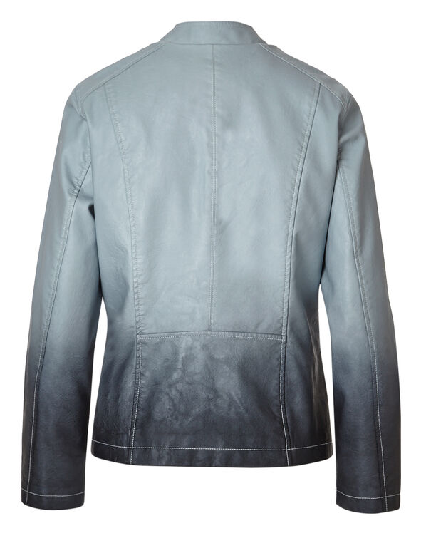 Blue Ombre Faux Leather Jacket, Blue Dip Ombre, hi-res