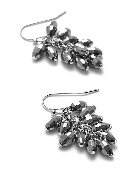 Hematite Beaded Cluster Earring, Hematite, hi-res