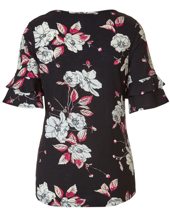 Pink Floral Bell Sleeve Top, Pink/Black, hi-res