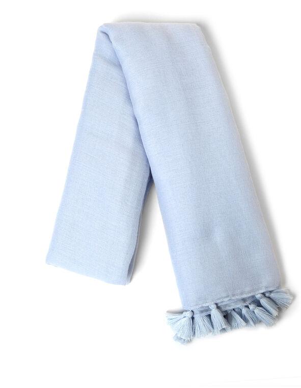 Blue Tassel Square Scarf, Blue, hi-res