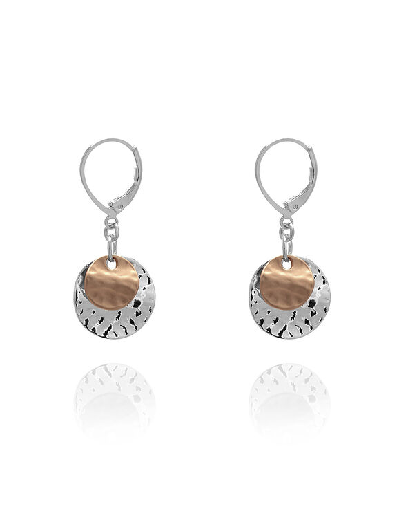 Silver Hammered Disc Earring, Silver/Rose Gold, hi-res