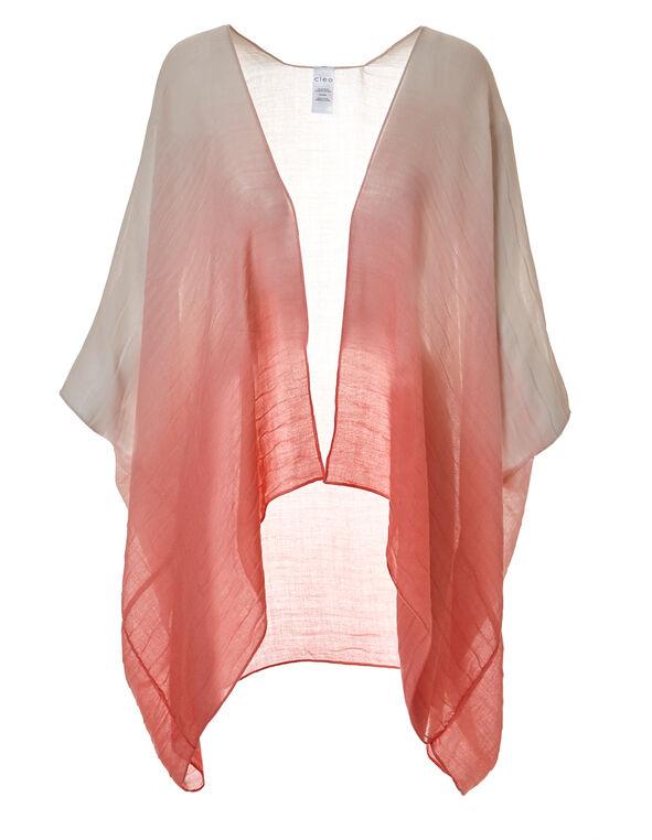 Coral Dip Dye Kimono, Coral, hi-res