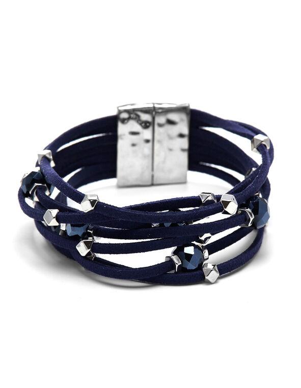 Navy Magnetic Wrap Bracelet, Navy, hi-res