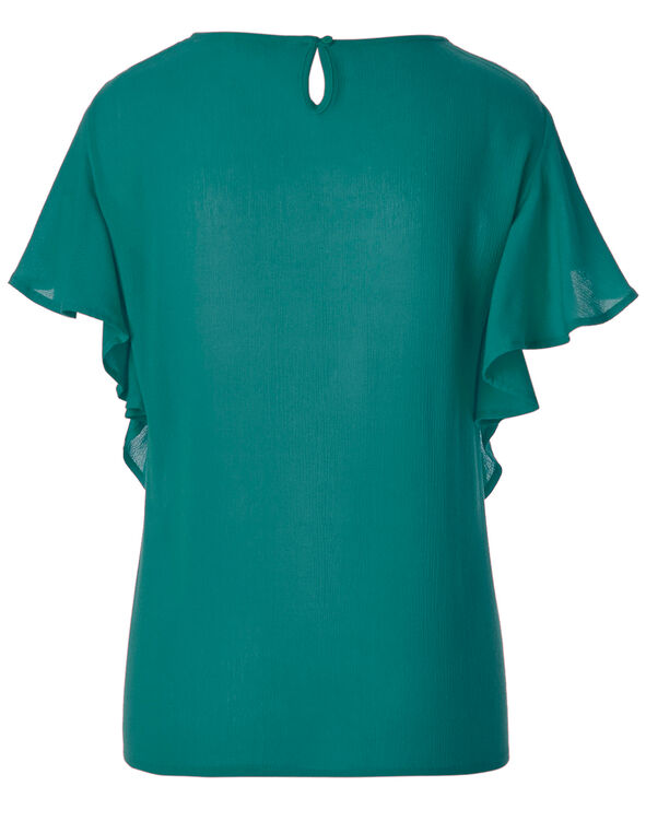 Turquoise Ruffle Peasant Blouse, Turquoise, hi-res
