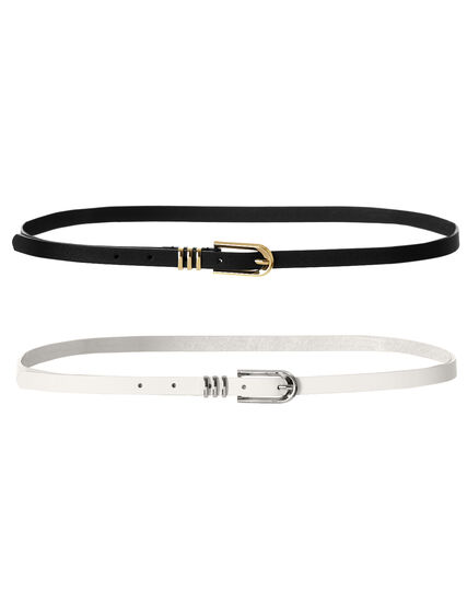 Two Pack Skinny Belt, Black/White, hi-res