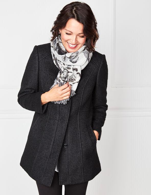 Black Wool Blend Coat, Black, hi-res