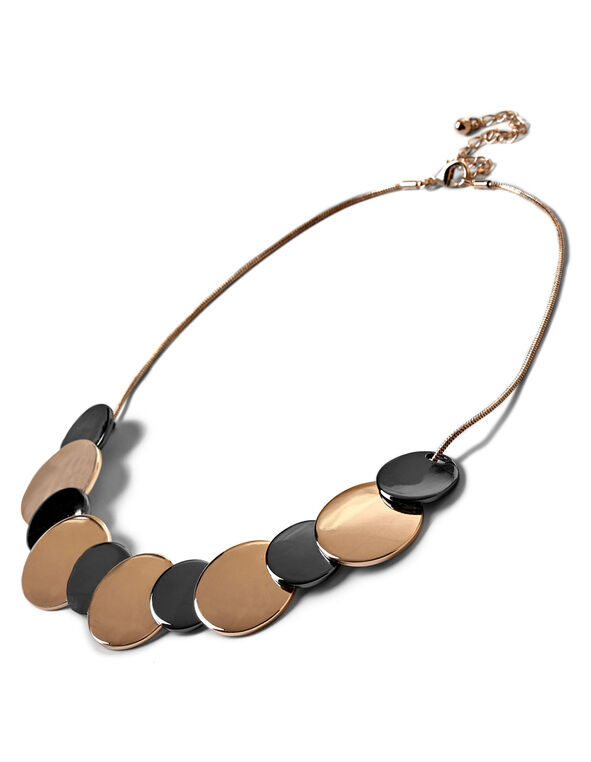 Metal Statement Necklace, Rose Gold/Hematite, hi-res