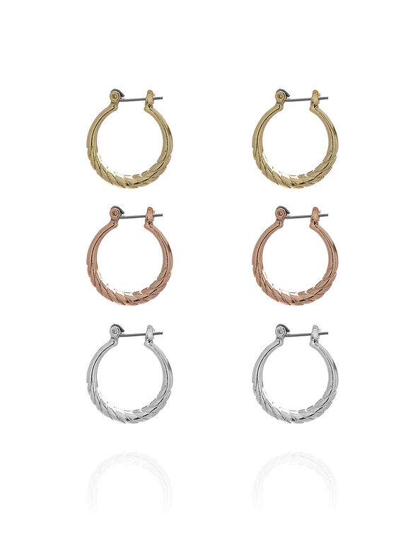 Small Hoop Trio Earring Set, Gold/Silver/Rose Gold, hi-res