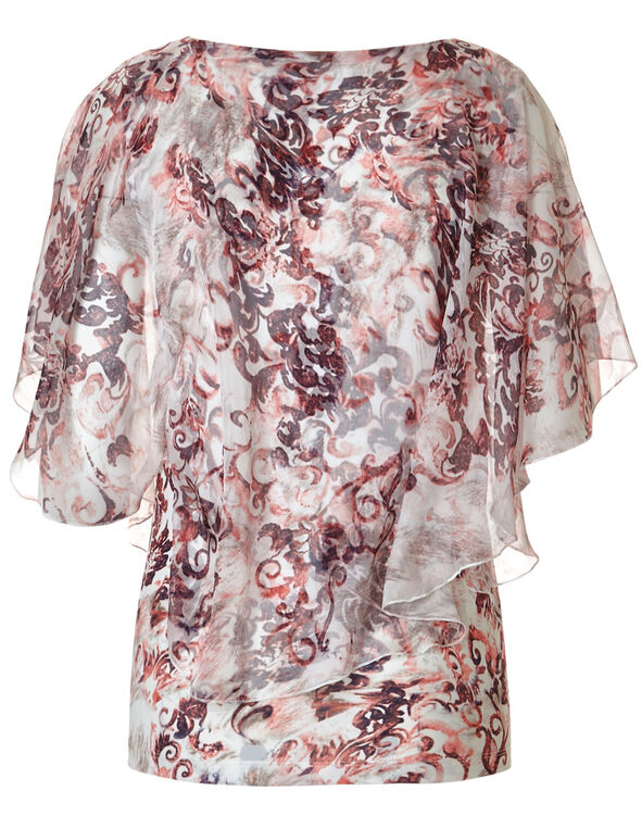 Printed Caftan Top, White/Apricot, hi-res