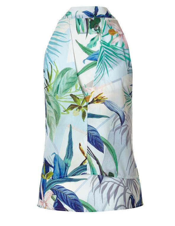 Floral Tie Neck Blouse, Blue, hi-res