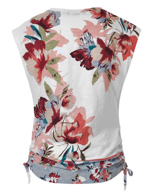 Floral Adjustable Ruching Tee, White/Pink, hi-res