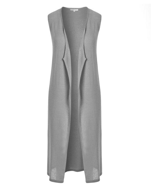 Grey Extra Long Open Cardigan, Light Grey, hi-res