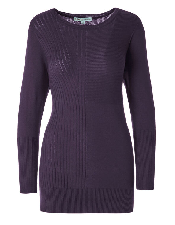 Purple Ribbed Tunic, Purple, hi-res