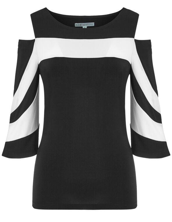 Black Bell Cold Shoulder Top, Black/White, hi-res