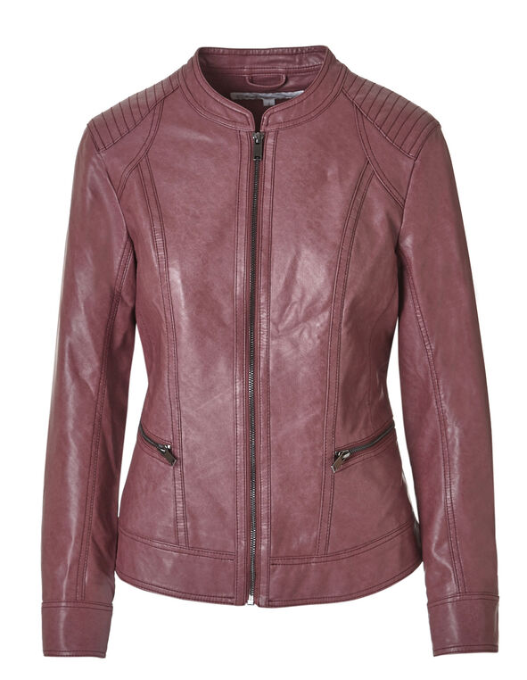 Raspberry Faux Leather Jacket, Raspberry, hi-res