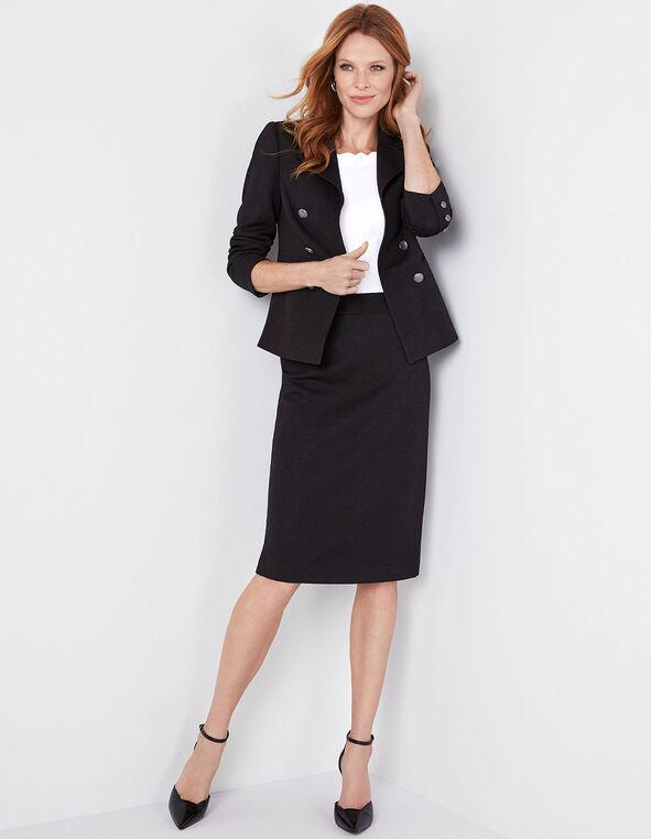 Black Pique Knit Pencil Skirt, Black, hi-res