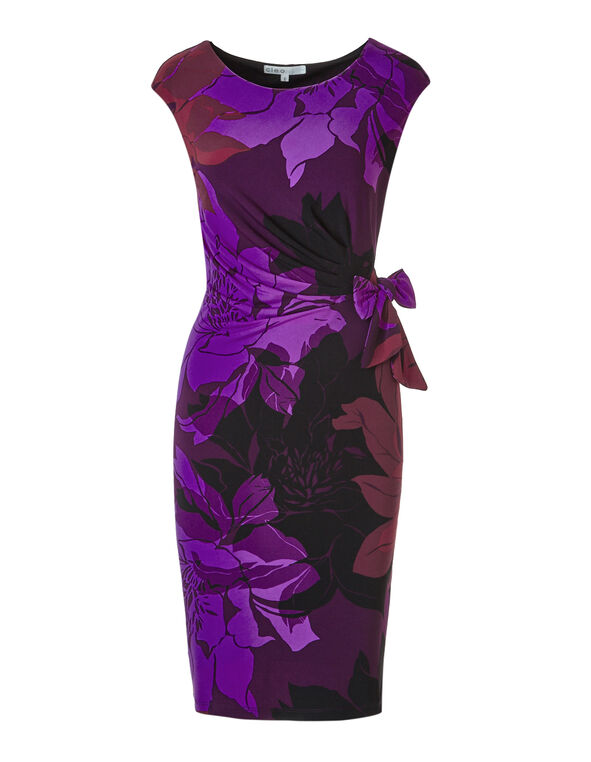 Purple Tie Wasit Dress, Purple, hi-res