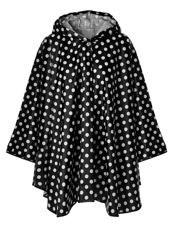Black Polka Dot Rain Poncho, Black, hi-res