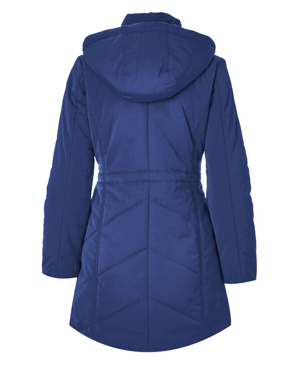 Blue Long Polyfill Coat, Blue, hi-res