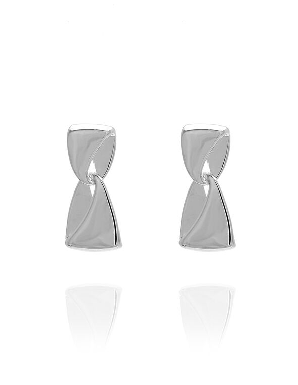 Silver Ribbon Earring, Silver, hi-res