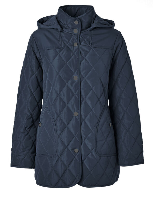 Blue Polyfill Quilted Jacket, Blue, hi-res