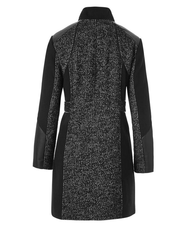 Black Mix Faux Leather Coat, Black/White, hi-res