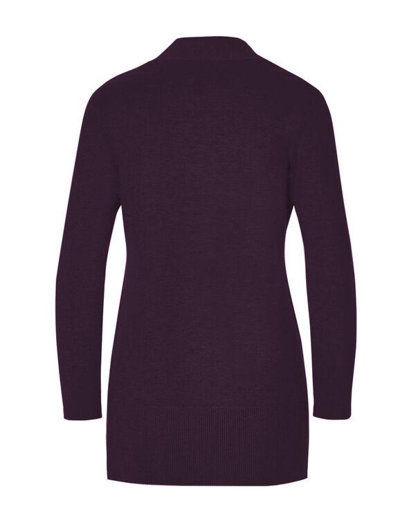 Deep Plum Long Cardigan Sweater, Deep Plum, hi-res