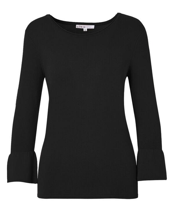 Black Bell Sleeve Sweater, Black, hi-res
