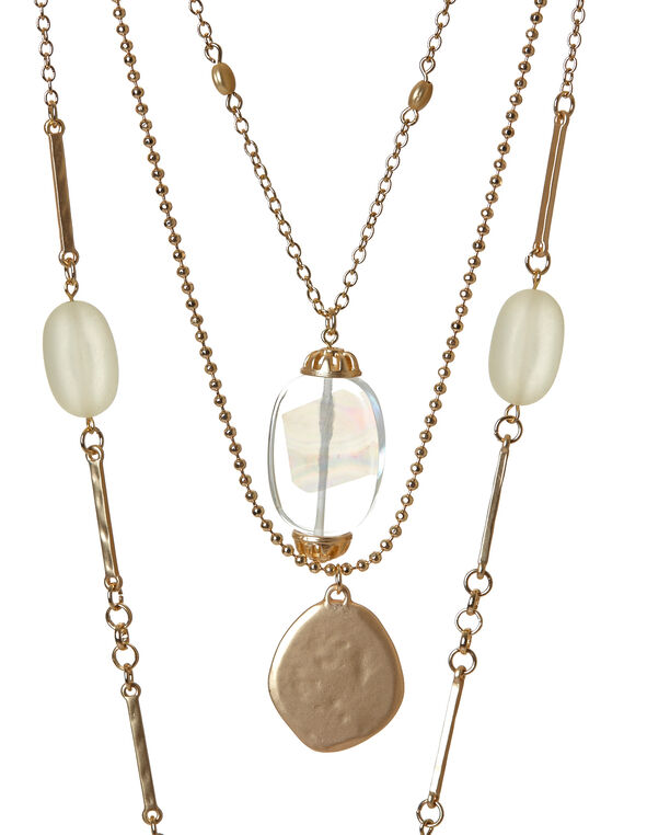 Gold Three-Layered Shell Necklace, Gold, hi-res