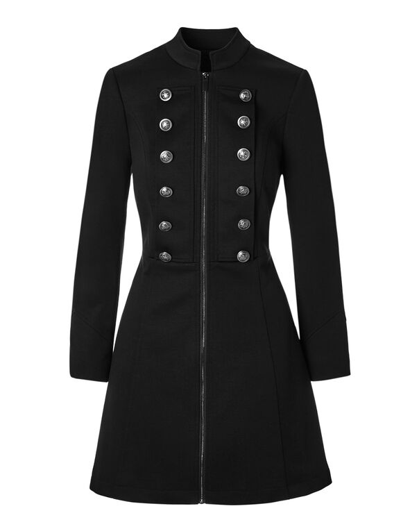 Black Long Military Blazer, Black, hi-res