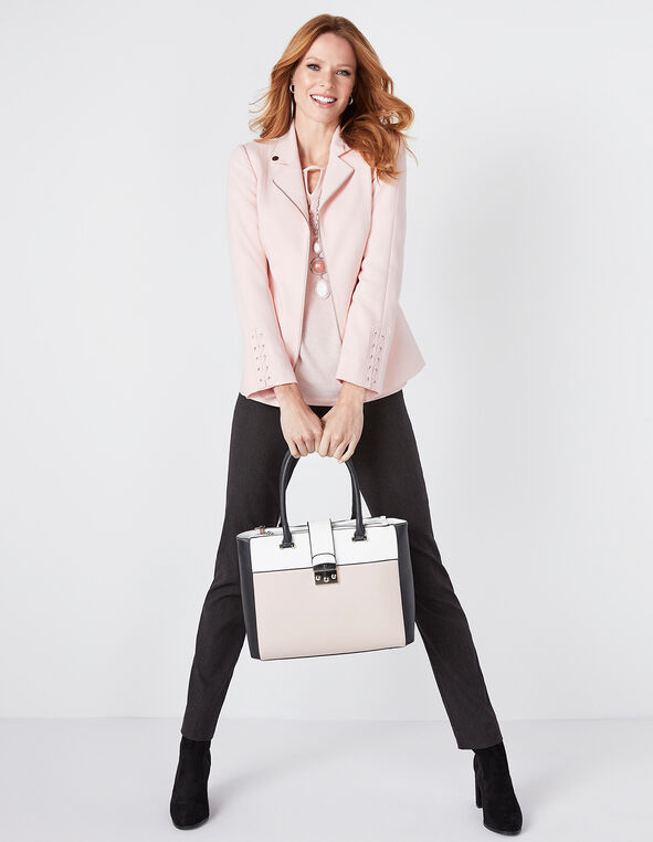 Pink Colour Block Satchel, Pink, hi-res