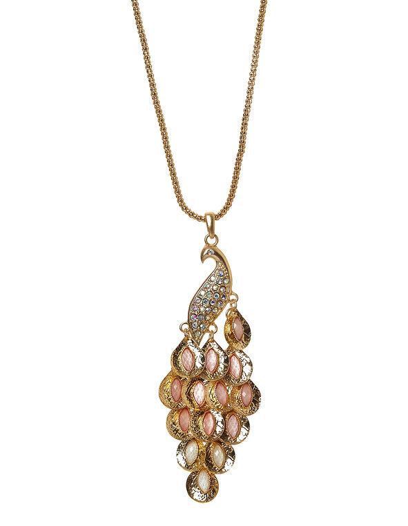 Coral Ombre Peacock Necklace, Coral, hi-res