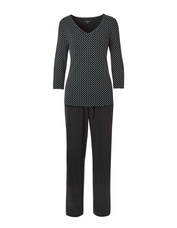 Black Dot Ankle Pajama Set, Black, hi-res