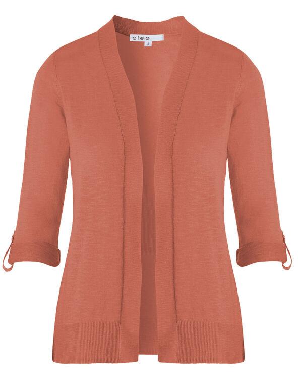 Apricot Slub Roll Sleeve Cardigan, Apricot, hi-res
