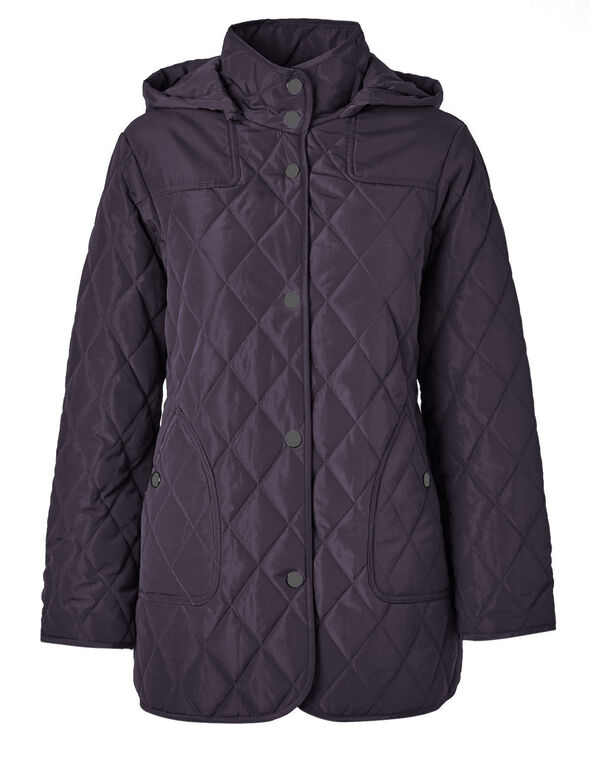 Purple Polyfill Quilted Jacket, Purple, hi-res