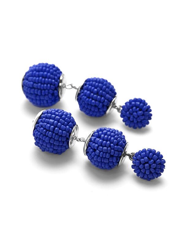 Cobalt Seed Bead Bobble Earring, Cobalt, hi-res