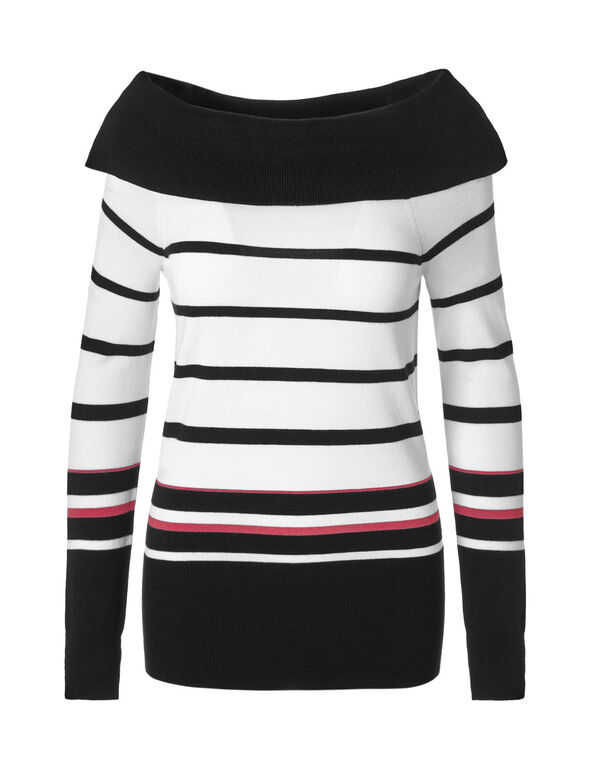 Black Striped Marilyn Sweater, Black Stripe, hi-res