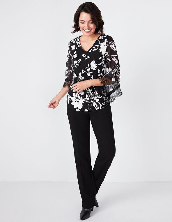 Floral Bell Sleeve Top, Fresh Pink/Black, hi-res